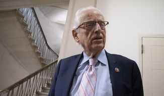 Rep. Bill Pascrell, D-N.J., takes a reporter's question outside the House Ways and Means Committee hearing on taxpayer noncompliance on Capitol Hill in Washington, Thursday, May 9, 2019. (AP Photo/J. Scott Applewhite)