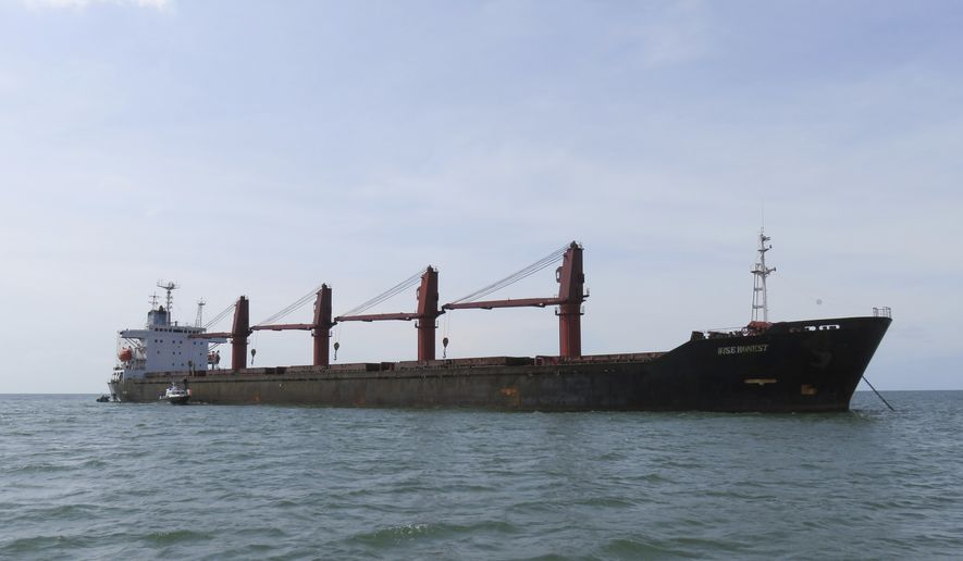 This undated photo released by the U.S. Justice Dept., Thursday, May 9, 2019, shows the North Korean cargo ship Wise Honest. The Trump administration says it has seized a North Korean cargo ship that U.S. officials say was used to transport coal in violation of international sanctions.