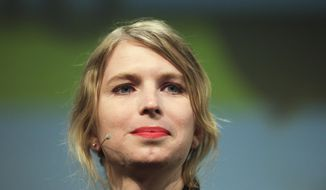 """FILE - In this May 2, 2018, file photo, Chelsea Manning attends a discussion at the media convention """"Republica"""" in Berlin. Former Army intelligence analyst Manning has been released from a northern Virginia jail after a two-month stay for refusing to testify to a grand jury. Manning was released Thursday, May 9, 2019, from the Alexandria jail after 62 days of confinement on civil contempt charges after she refused to answer questions to a federal grand jury investigating WikiLeaks. (AP Photo/Markus Schreiber, File)"""