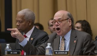 Rep. Steve Cohen, D-Tenn., joined at left by Rep. Hank Johnson, D-Ga., counters a Republican statement during the markup in the House Judiciary Committee to hold Attorney General William Barr in contempt of Congress after last-minute negotiations stalled with the Justice Department over access to the full, unredacted version of special counsel Robert Mueller's report, on Capitol Hill in Washington, Wednesday, May 8, 2019. (AP Photo/J. Scott Applewhite) ** FILE **