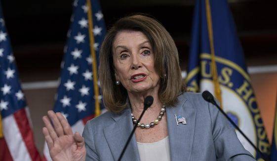 Speaker of the House Nancy Pelosi, D-Calif., meets with reporters the day after the Democrat-controlled House Judiciary Committee voted to hold Attorney General William Barr in contempt of Congress, at a news conference on Capitol Hill in Washington, Thursday, May 9, 2019. (AP Photo/J. Scott Applewhite) ** FILE **