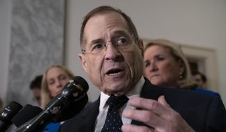 House Judiciary Committee Chairman Jerrold Nadler, D-N.Y., talks to reporters on Capitol Hill in Washington, Wednesday, May 8, 2019. (AP Photo/J. Scott Applewhite)