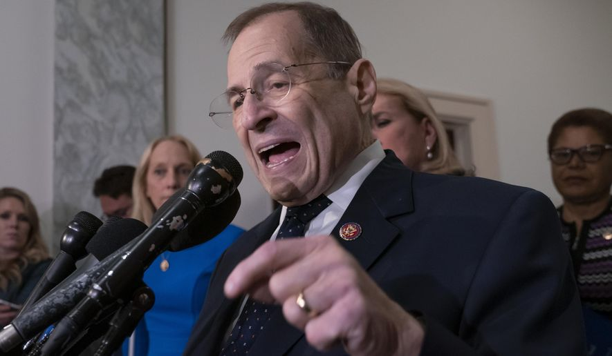 House Judiciary Committee Chairman Jerrold Nadler talks to reporters after leading his Democratic majority to vote to hold Attorney General William Barr in contempt of Congress, escalating the legal battle with the Trump administration over access to special counsel Robert Mueller's report, on Capitol Hill in Washington, Wednesday, May 8, 2019. The committee voted 24-16 to hold Barr in contempt after the Justice Department rejected House Democrats' demands for the full Mueller report and the underlying evidence. (AP Photo/J. Scott Applewhite)