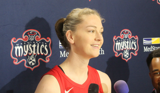 Washington Mystics forward Emma Meesseman speaks to reporters at the team's media day on Monday, May 6, 2019. (Adam Zielonka/The Washington Times)