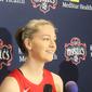 Washington Mystics forward Emma Meesseman speaks to reporters at the team's media day on Monday, May 6, 2019. (Adam Zielonka/The Washington Times)