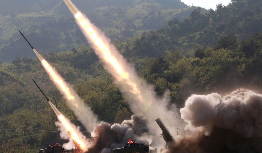 North Korea appeared to ratchet up tensions this month by launching two short-range missiles that were assessed as having technological capabilities beyond those of its older Scud short-range missiles. (Associated Press/File)