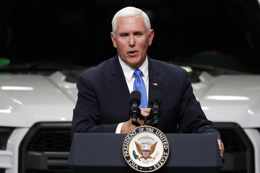 FILE - In this Wednesday, April 24, 2019 file photo, Vice President Mike Pence speaks at an auto industry discussion of the new United States-Mexico-Canada Agreement in Taylor, Mich. Pence plans two tour stops in Minnesota on Thursday, May 9, 2019, to talk about the stalled trade deal with Mexico and Canada. He's likely to hear differing opinions on part of the plan to replace NAFTA. (AP Photo/Paul Sancya, File)