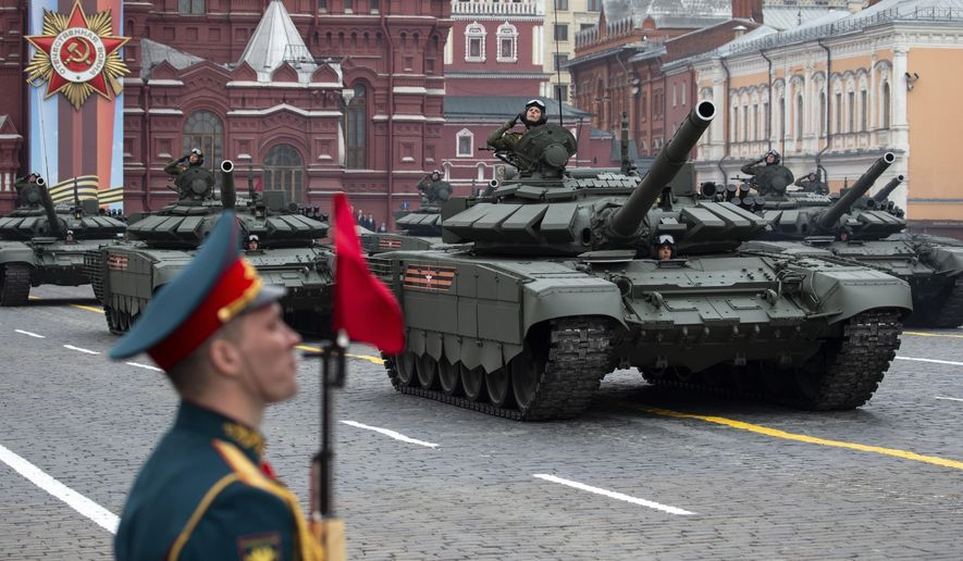 Russian tanks T-72 B3 drive during the Victory Day military parade to celebrate 74 years since the victory in WWII in Red Square in Moscow, Russia, Thursday, May 9, 2019. (AP Photo/Alexander Zemlianichenko)