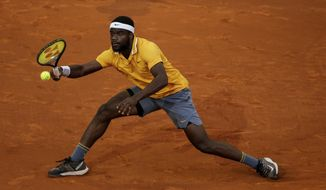 College Park native Frances Tiafoe lost to third-seeded Daniil Medvedev 6-2, 7-5, at the Citi Open in Washington on Thursday.  (AP Photo/Bernat Armangue) **FILE**