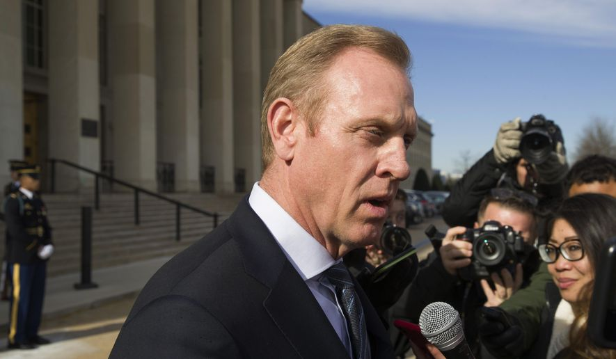 In this Jan. 28, 2019, file photo, acting Defense Secretary Pat Shanahan speaks with the media as he waits for the arrival of NATO Secretary General Jens Stoltenberg at the Pentagon in Washington. President Donald Trump on May 9, said he will nominate Shanahan to be his second secretary of defense. (AP Photo/Alex Brandon, File)