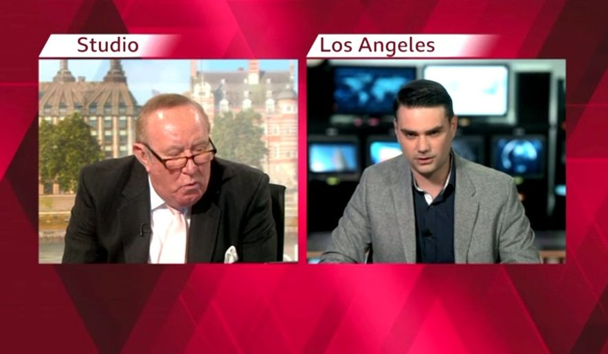 "Ben Shapiro defends his commentary during a ""Politics Live"" interview with BBC's Andrew Neil, May 10, 2019. (Image: BBC video screenshot)"