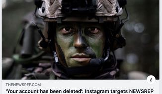 The page for a popular military news website, NEWSREP, was abruptly blocked on Instragram on the evening of May 7, 2019. (Image: Facebook, NEWSREP screenshot)