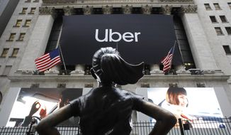 The statue of Fearless Girl stands in front of the New York Stock Exchange before Uber, the world's largest ride-hailing service, holds its initial public offering, Friday, May 10, 2019. (AP Photo/Mark Lennihan)