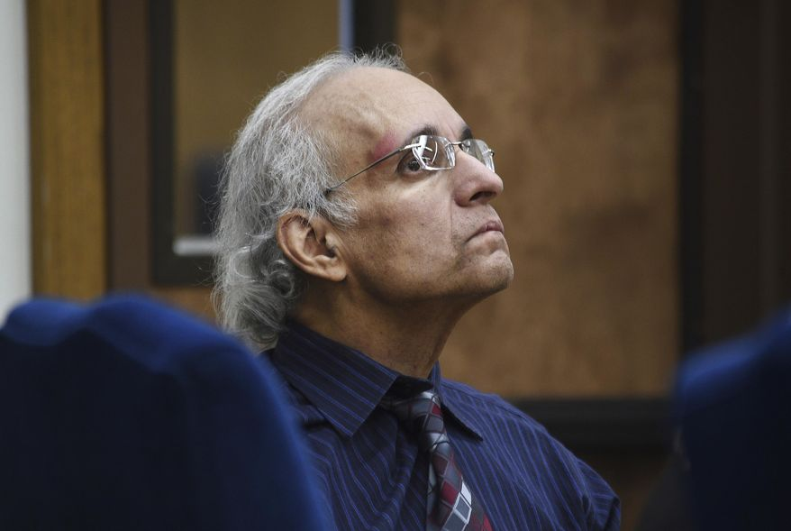 Tracy Petrocelli, who has been on death row in Nevada for 34 years, appears in Washoe County District Court in Reno during a hearing to challenge his death sentence, Friday, May 10, 2019. Petrocelli was convicted in the 1982 killing of a Reno car salesman, months after killing his girlfriend in Seattle. (Jason Bean/The Reno Gazette-Journal via AP)