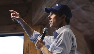 Democratic presidential candidate and former Texas Congressman Beto O'Rourke addresses a gathering at a campus library during a campaign stop at Colby-Sawyer College in New London, N.H., Friday, May 10, 2019. (AP Photo/Charles Krupa)