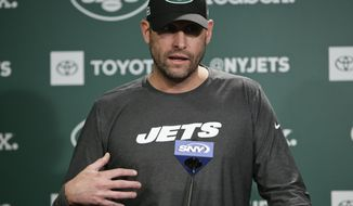 New York Jets head coach Adam Gase speaks during an NFL football news conference Friday, May 10, 2019, in Florham Park, N.J. (AP Photo/Frank Franklin II)