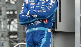 NASCAR auto racing driver Bubba Wallace is shown before a Cup series auto race Sunday, May 5, 2019, at Dover International Speedway in Dover, Del. (AP Photo/Jason Minto)