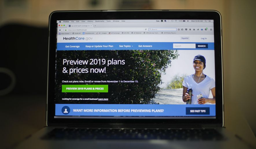 In this Oct. 31, 2018, photo, the HealthCare.gov website is photographed in Washington. (AP Photo/Pablo Martinez Monsivais) **FILE**