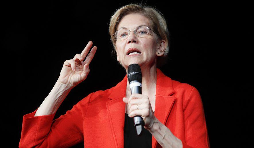 Democratic presidential candidate Sen. Elizabeth Warren, D-Mass., speaks during a campaign stop, Saturday, May 11, 2019, in Cincinnati. (AP Photo/John Minchillo)