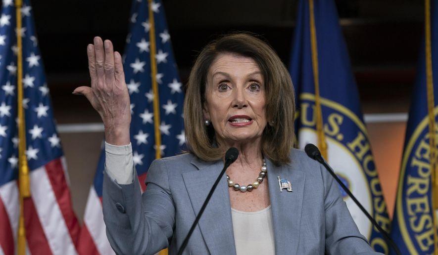 In this May 9, 2019, photo, Speaker of the House Nancy Pelosi, D-Calif., speaks on Capitol Hill in Washington. (Associated Press) **FILE**