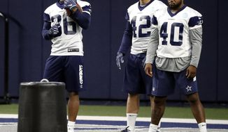 In this Friday, May 10, 2019 photo, Dallas Cowboys rookies, running back Tony Pollard (36), fullback Joe Protheroe (42) and running back Mike Weber Jr., wait to participate in a drill during a NFL football mini camp at the team's training facility in Frisco, Texas. (AP Photo/Tony Gutierrez)