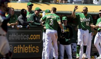 Oakland Athletics' Nick Hundley (3) celebrates after scoring a home run on a throwing error by the Cleveland Indians in the fifth inning of a baseball game, Saturday, May 11, 2019, in Oakland, Calif. (AP Photo/John Hefti)