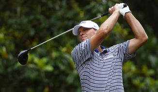 Steve Stricker tees off on the second hole during the third round of the Regions Tradition Champions Tour golf tournament, Saturday, May 11, 2019, in Birmingham, Ala. (AP Photo/Butch Dill)