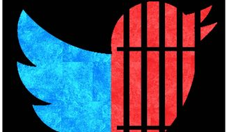Illustration on biased Twitter policy by Alexander Hunter/The Washington Times