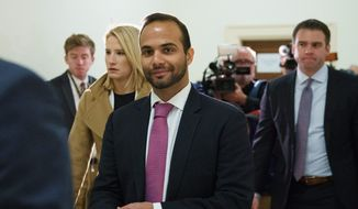 In this Oct. 25, 2018, file photo, George Papadopoulos, the former Trump campaign adviser who triggered the Russia investigation, arrives for his first appearance before congressional investigators, on Capitol Hill in Washington. (AP Photo/Carolyn Kaster, File)