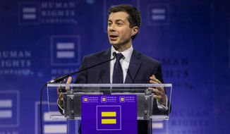 Democratic presidential candidate Pete Buttigieg speaks during the Human Rights Campaign's 14th annual Las Vegas Gala at Caesars Palace on Saturday, May 11, 2019 in Las Vegas. (Joe Buglewicz/AP Images for Human Rights Campaign) IMAGE DISTRIBUTED FOR HUMAN RIGHTS CAMPAIGN  **FILE**