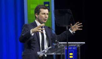 Democratic presidential candidate Pete Buttigieg speaks at the the Human Rights Campaign's 14th Annual Las Vegas Gala dinner on Saturday, May 11, 2019, at Caesars Palace, in Las Vegas. (Benjamin Hager/Las Vegas Review-Journal via AP)