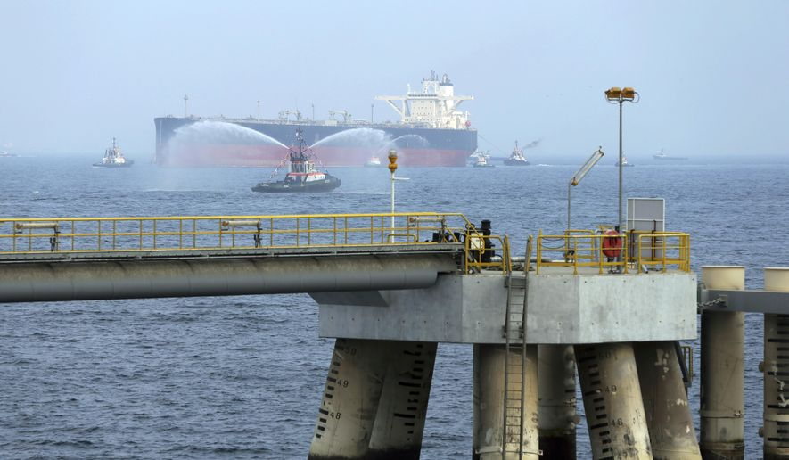 "In this Sept. 21, 2016, file photo, an oil tanker approaches to the new Jetty during the launch of the new $650 million oil facility in Fujairah, United Arab Emirates. The United Arab Emirates said Sunday, May 12, 2019, that four commercial ships near Fujairah ""were subjected to sabotage operations"" after false reports circulated in Lebanese and Iranian media outlets saying there had been explosions at the Fujairah port. (AP Photo/Kamran Jebreili)"