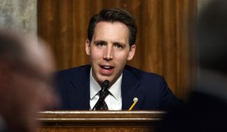In this Feb. 29, 2019, photo, Senate Armed Services Committee member Sen. Josh Hawley, R-Mo., speaks during a Senate Armed Services Committee hearing on Capitol Hill in Washington. (AP Photo/Carolyn Kaster) **FILE**