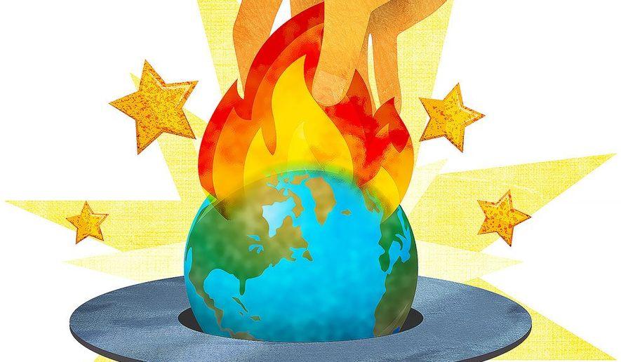 Alarmist's Magic Trick Illustration by Greg Groesch/The Washington Times