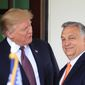 """""""We are proud to stand together with the United States on fighting against illegal migration, on terrorism and to protect and help the Christian communities around the world,"""" said Hungarian Prime Minister Viktor Orban. (Associated Press)"""