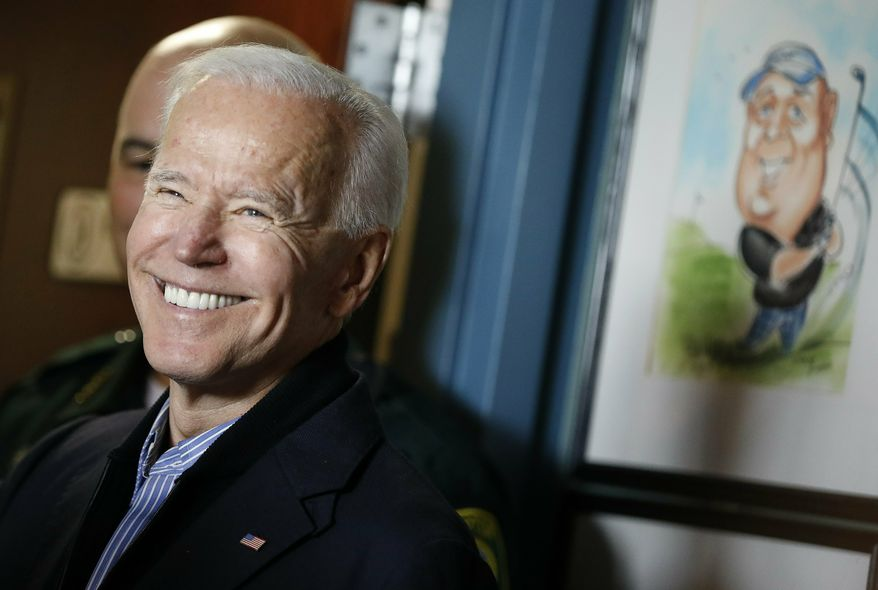 Former vice president and Democratic presidential candidate Joe Biden reacts after speaking during a campaign stop at the Community Oven restaurant in Hampton, N.H., Monday, May 13, 2019. (AP Photo/Michael Dwyer)