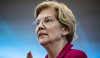 Democratic presidential candidate Sen. Elizabeth Warren, D-Mass., is shown here during an American Federation of Teachers town hall event, at the Plumbers Local 690 Union Hall in Philadelphia, Monday, May 13, 2019. (AP Photo/Matt Rourke) **FILE**