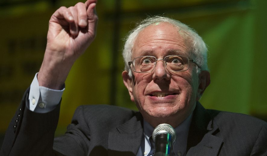 Sen. Bernie Sanders, I-Vt. addresses The Road to the Green New Deal Tour final event at Howard University in Washington, Monday, May 13, 2019. (AP Photo/Cliff Owen)