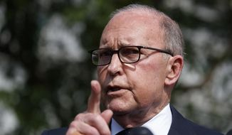 In this May 3, 2019, file photo, White House chief economic adviser Larry Kudlow speaks with reporters outside the White House in Washington. (AP Photo/Evan Vucci, File)