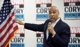 In this April 15, 2019, file photo, Democratic presidential candidate Sen. Cory Booker, D-N.J., speaks during an election stop at the Sioux City Public Museum in Sioux City, Iowa. (AP Photo/Nati Harnik)