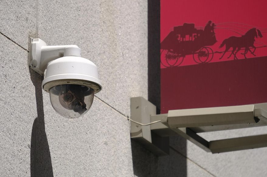 This photo taken Tuesday, May 7, 2019, shows a security camera in the Financial District of San Francisco. San Francisco is on track to become the first U.S. city to ban the use of facial recognition by police and other city agencies as the technology creeps increasingly into daily life. (AP Photo/Eric Risberg) ** FILE **
