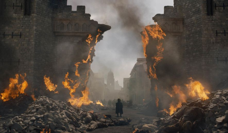 "This image released by HBO shows Peter Dinklage in a scene from ""Game of Thrones,"" that aired Sunday, May 12, 2019. Daenerys has reduced King's Landing to ashes in a dramatic, heart-stopping episode of Game of Thrones, but don't count the city out. Despite the horrifying death and destruction, the city is likely to rebound, over time, and will probably reclaim its glory as the wealthy capital of Westeros. (HBO via AP)"