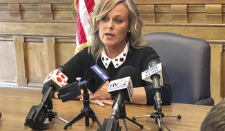 """Indiana state schools Superintendent Jennifer McCormick speaks about school security issues during a news conference Monday, May 13, 2019, at her Statehouse office in Indianapolis, saying she doesn't think a $5 million a year increase in available school safety grants will go far enough. McCormick said the $19 million annual funding included in the new state budget will help school districts, but emphasized that """"safety is not inexpensive."""" McCormick spoke the day her department hosted the Indiana School Safety Academy, which drew representatives from eight states. (AP Photo / Tom Davies)"""
