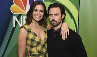 "Mandy Moore, left, and Milo Ventimiglia, from the cast of ""This Is Us,"" attend the NBC 2019/2020 Upfront at The Four Seasons New York on Monday, May 13, 2019. (Photo by Evan Agostini/Invision/AP)"