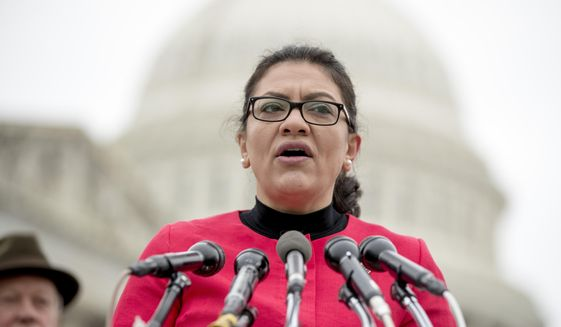 On this Jan. 17, 2019, photo, Rep. Rashida Tlaib, D-Mich., speaks at a news conference on Capitol Hill in Washington. (AP Photo/Andrew Harnik) **FILE**