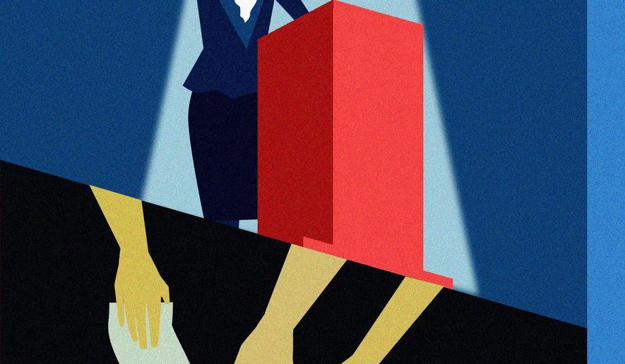 Illustration on Democratic attitudes towards Asian-Americans by Linas Garsys/The Washington Times