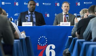 Philadelphia 76ers general manager Elton Brand, left, and owner Josh Harris take part in a news conference at the NBA basketball team's practice facility in Camden, N.J., Tuesday, May 14, 2019. (AP Photo/Matt Rourke)