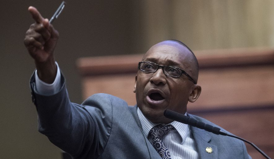 Sen. Bobby Singleton speaks as debate on HB314, the near-total ban on abortion bill, is held in the Senate chamber in the Alabama State House in Montgomery, Ala., on Tuesday, May 14, 2019. (Mickey Welsh/The Montgomery Advertiser via AP)