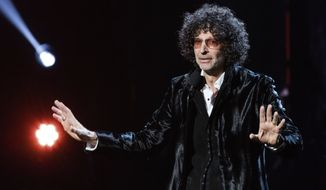 In this April 14, 2018, file photo, Howard Stern speaks at the 2018 Rock and Roll Hall of Fame Induction Ceremony at Cleveland Public Auditorium in Cleveland. (Photo by Michael Zorn/Invision/AP, File)