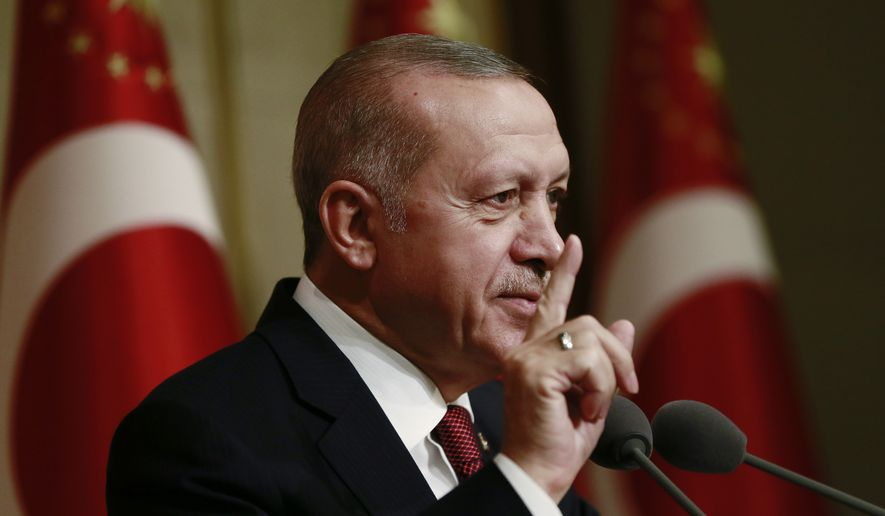 Turkey's President Recep Tayyip Erdogan speaks during a meeting with farmers at his palace, in Ankara, Turkey, Tuesday, May 14, 2019. On May 15, 2019, a bipartisan group of congressmen introduced new legislation that urges Turkey to walk away from a contentious weapons deal with Russia. (Presidential Press Service via AP) **FILE**